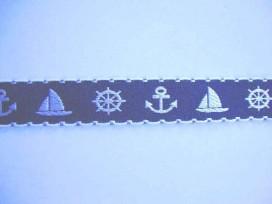 Hollands sierband Blauw met anker en boot 357hb
