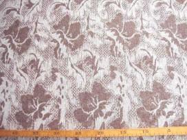 Wollen stof Jaquard Camel/lichtzand met bloemmotief 112360-72PL