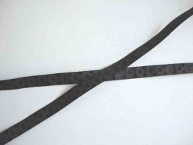 Satijnlint ton sur ton Stip 10mm  Zwart