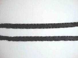 Satijnband dubbele ruche 10mm. Zwart