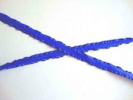 Satijnband dubbele ruche 10mm. Kobalt