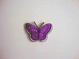 Vlinder applicatie Paars glitter 3 cm.