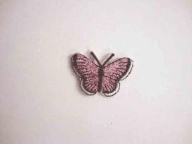 Vlinder applicatie Roze glitter 3 cm.