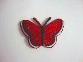 3n Vlinder applicatie Rood glitter 5 cm. 30576-5S