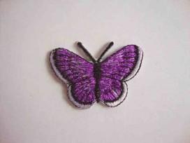 Vlinder applicatie Paars glitter 5 cm.