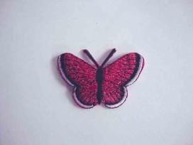 Vlinder applicatie Donkerpink glitter 5 cm. 30575-5S