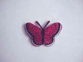 Vlinder applicatie Donkerpink glitter 5 cm.