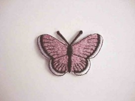 Vlinder applicatie Roze glitter 5 cm.