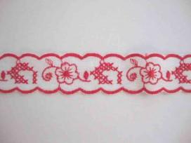 Katoen kant gekleurd Rood/wit met bloem 25mm