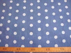 Jeans stof Middenblauw met stip 3815-23