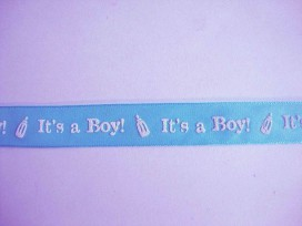 4a Sierband It's a Boy 15mm. Aqua/wit 4580B