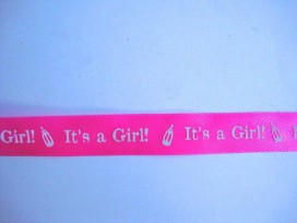 Sierband It's a Girl 15mm. Pink/wit 4584G