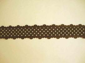 Sierband met stip en kantje Donkerbruin  25mm