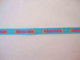 Sierband Aqua met pink gevlochten print    O-849
