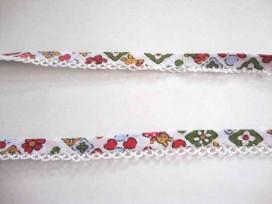4l Biaisband met witte ruche en konijn met groen/rode bloem 62