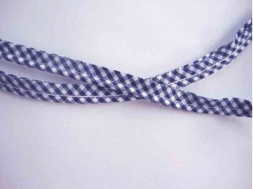 Paspelband. Donkerblauwe boerenbont ruit.  12 mm breed  70% polyester/30% katoen