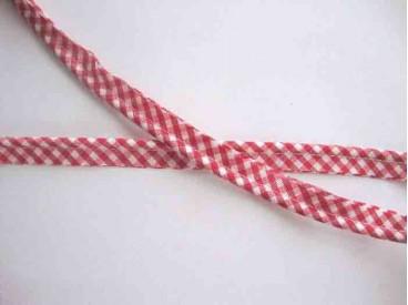 Paspelband. Rode boerenbont ruit.  12 mm breed  70% polyester/30% katoen