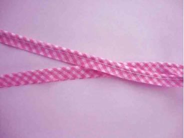 Paspelband boerenbont ruitjes Roze