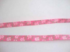 5a Ribsband Roze met lichtroze bloem 10mm. 012-77K