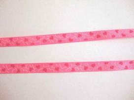 Ripsband Pink met rode hartjes 10mm. 032-66K
