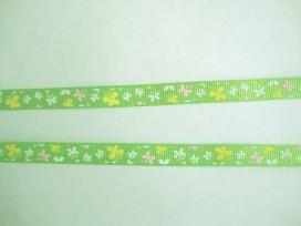 5f Ribsband Lime met roze-wit-gele vlinders 10mm. 043-661K