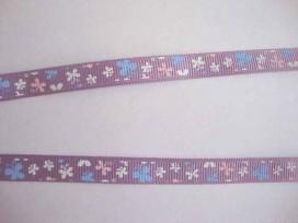Ripsband Lila met roze-wit-blue vlinders 10mm. 043-662K