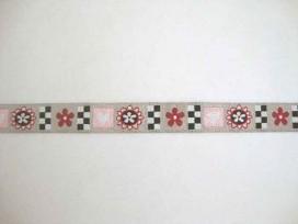 Sierband Hartjes Lichttaupe met zwart-rood-roze patroon 15mm.