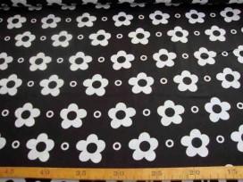Grote Bloem katoen Wit met cirkel Zwart 2145-69N