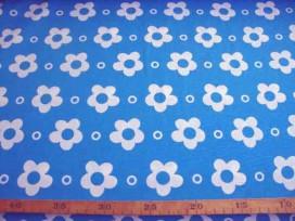 Grote Bloem katoen Wit met cirkel Aqua 2145-4N