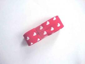 5d Biaisband bundel 2 mtr. Rood met witte hartjes 1252H