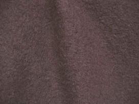 Mooie zware kwaliteit voorgekookte donkerbruine boucle wolvilt.  Zeer geschikt voor jasjes. Rafelt niet!  100% wol  1.45 mtr. br
