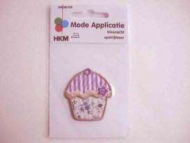 Applicatie Cupcake Paars/wit 1115B