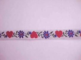 Sierband hartjes Wit met rood hart en blauwe bloem 18mm
