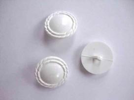 Witte knoop op steel met schulprandje 25mm. wk809