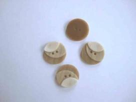 Kunststof knoop 3 kleurig Zand 20mm. 1-20  Serie 1