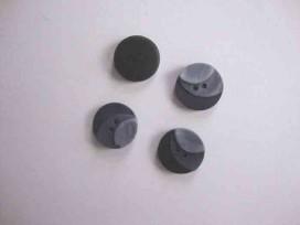 Kunststof knoop 3 kleurig Grijs 15mm. 103-15  Serie 1