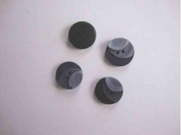 5r Kunststof knoop 3 kleurig Grijs 15mm. 103-15