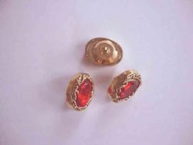 Diamant knoop. Een rood/gouden knoop met een afmeting van 25x18mm.