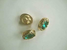 Een groen/gouden ovale diamantknoop met een afmeting van 25x18mm.