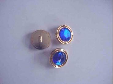 Een ronde kobalt/gouden diamant knoop met een doorsnee van 18mm.