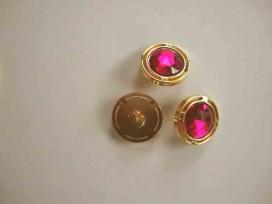Een ronde pink/gouden diamantknoop met een doorsnee van 18mm.