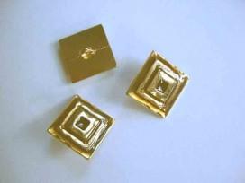 Damesknoop Sjiek metaal Vierkant Goud/rood 20mm. dksm252