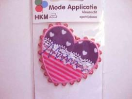 Hartjes applicatie Jeansbl. met hartjes en roze streep