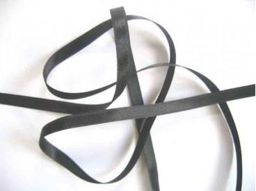 Donkergrijs satijnlint double face van 6 mm breed.