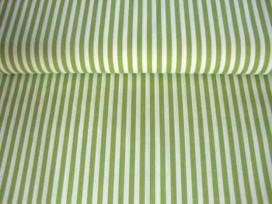 Lengtestreep katoen Lime/wit 5574-24N