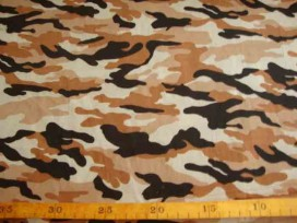 Legerprint fijn Zand/camel/zwart 11114B