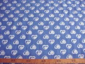 Jeans stof Middelblauw met hartjes 22220B