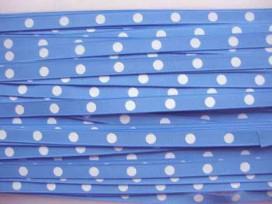 Ripsband met stip Bleu 10mm. BGR