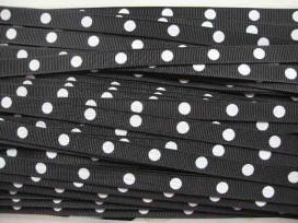 3d Ribsband met stip Zwart 10mm. ZWGR