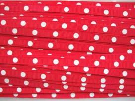 3e Ribsband met stip Rood 10mm. RGR